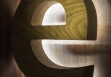 объемные буквы из дерева с контражуром подсветкой