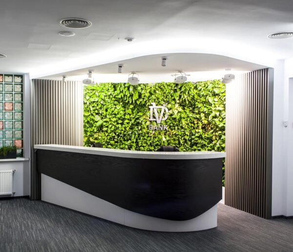 reception in floristic design with volumetric letters also with illumination by a countermeasure