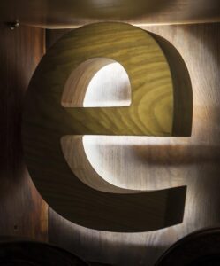 three dimensional letters of wood with backlighting 249x300 - Объемные буквы для интерьерной рекламы